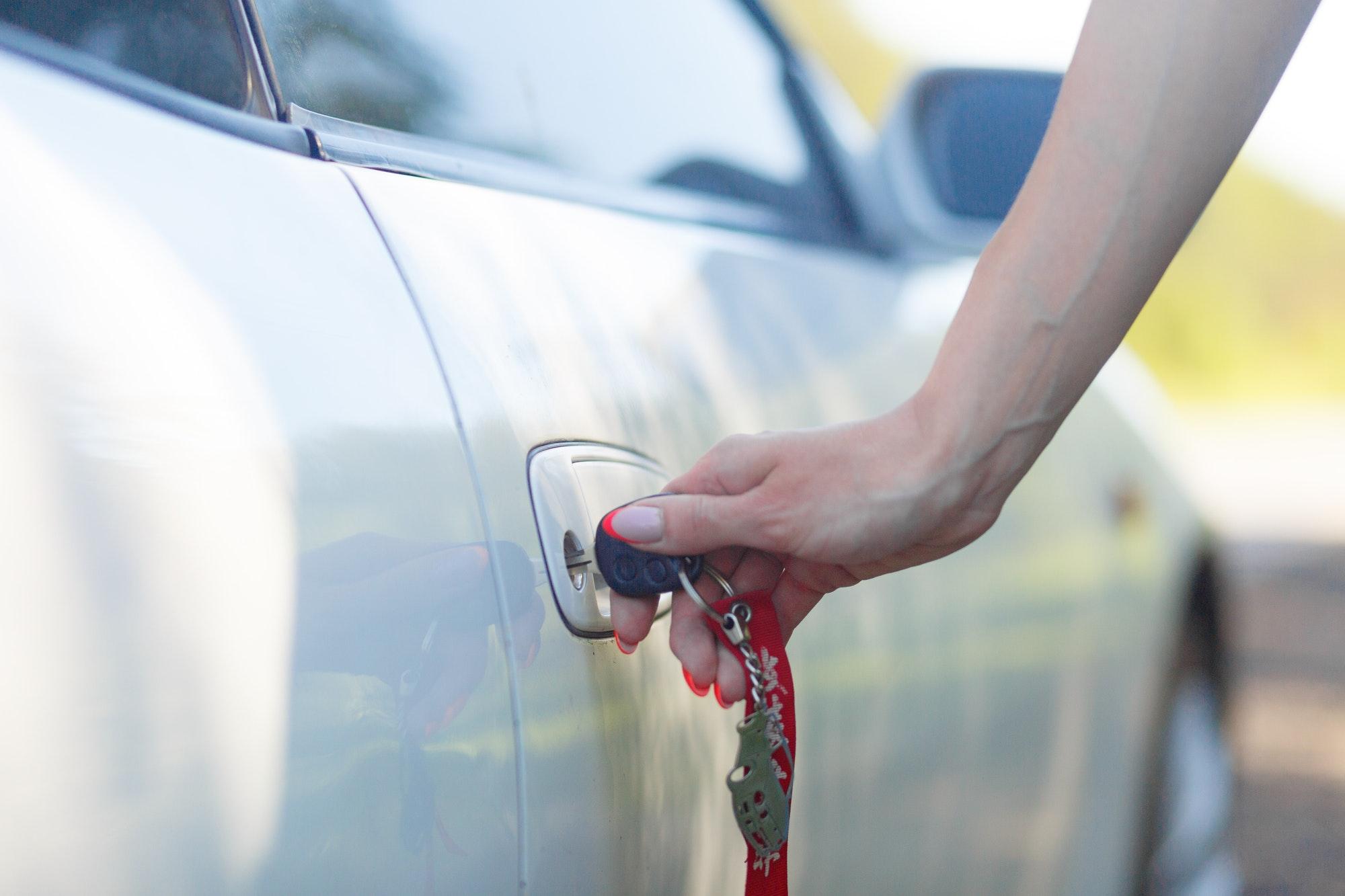 Car keys in a lock.